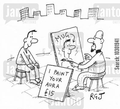 street artist cartoon humor: 'I paint your aura...'