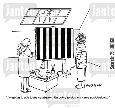 confuses cartoon humor: 'I'm going to add to the confusion. I'm going to sign my name upside-down.'