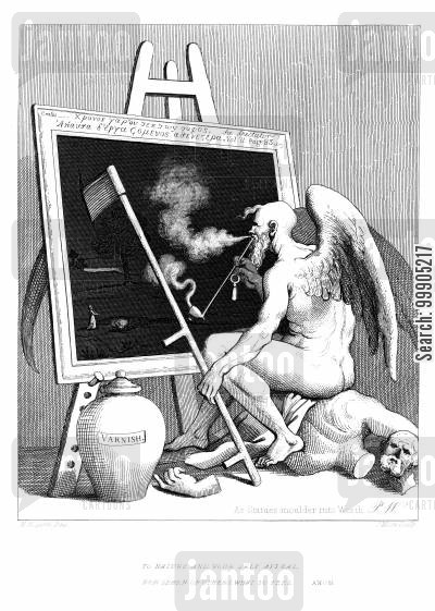 antique cartoon humor: Time Smoking a Picture.