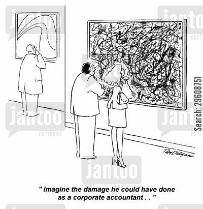 corporate cartoon humor: 'Imagine the damage he could have done as a corporate accountant...'