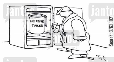 musician cartoon humor: Man refuelling creative juices.