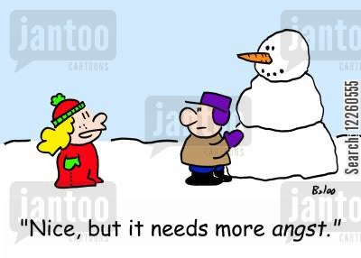 angst cartoon humor: 'Nice, but it needs more angst.'