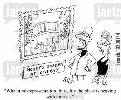monets garden at giverny cartoon humor: ...In reality the place is heaving with tourists