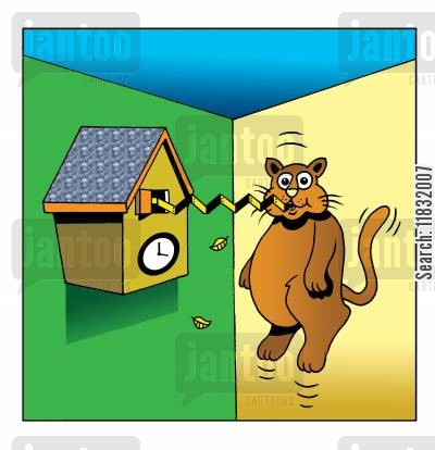 cuckoo clocks cartoon humor: Cuckoo clock gotcha.
