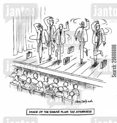ballet cartoon humor: Dance of the sugar plum tax attorneys.