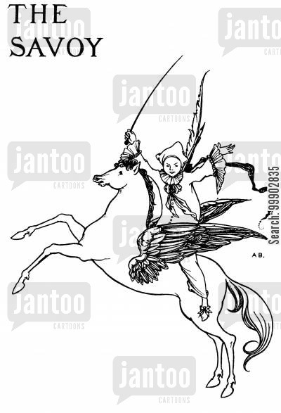 flying horse cartoon humor: Titlepage Design for Savoy (No. 3)