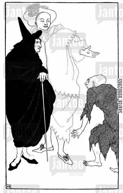 art nouveau cartoon humor: Don Juan, Sganarelle and the Beggar