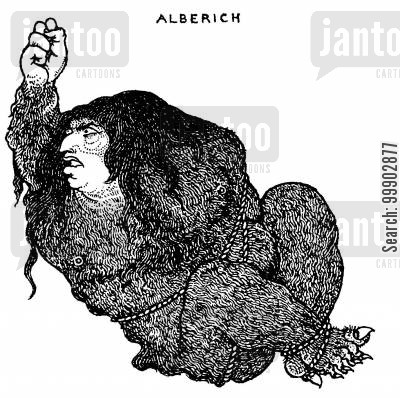 rheingold cartoon humor: Alberich - Intended for 'Das Rheingold'