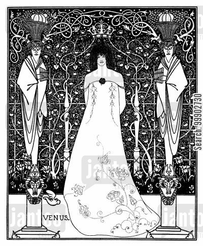 art nouveau cartoon humor: Frontispiece for Beardsley's Erotic Novel 'Venus and Tannhauser'- Not Used in this Form