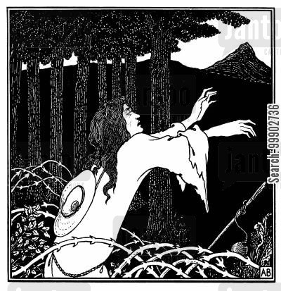 art nouveau cartoon humor: The Return of Tannhauser to Venusberg