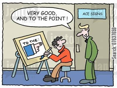 graphic designer cartoon humor: 'Very good and to the point.'