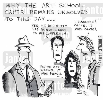 descriptions cartoon humor: 'Why the art school caper remains unsolved to this day,,,'