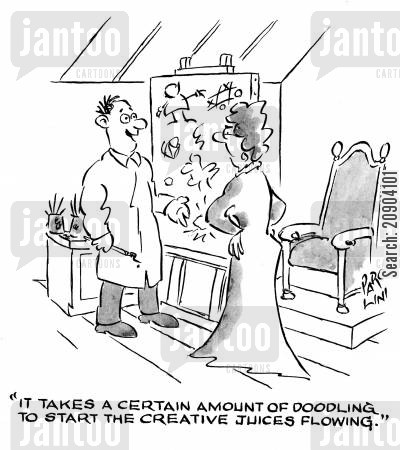doodled cartoon humor: 'It takes a certain amount of doodling to start the creative juices flowing.'