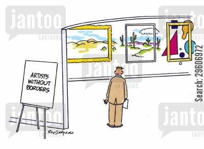 framed cartoon humor: Artists without borders.