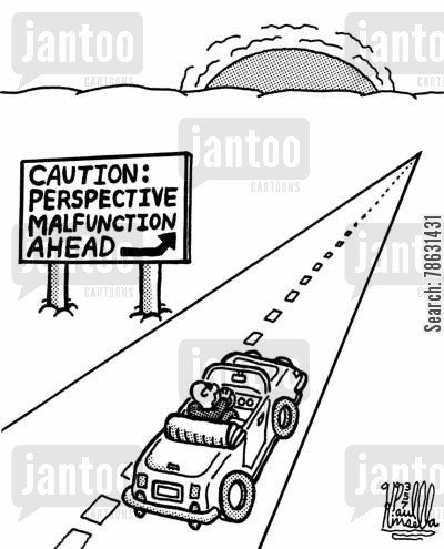 convertible cartoon humor: Caution: Perspective malfunction ahead
