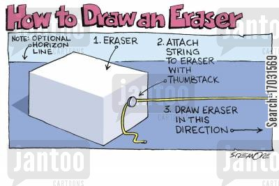 drawing lesson cartoon humor: How to Draw an Eraser.