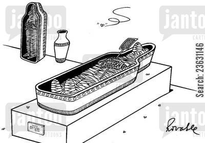 irritating cartoon humor: Mummy with a fly swat