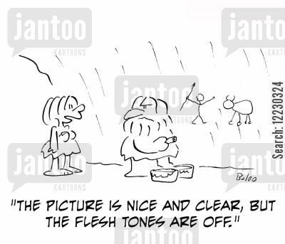 critic critics cartoon humor: The picture is nice and clear, but the flesh tones are off.