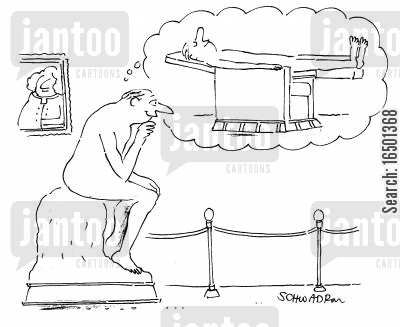 daydreamer cartoon humor: Statue Dreams of Lying Flat in an Armchair