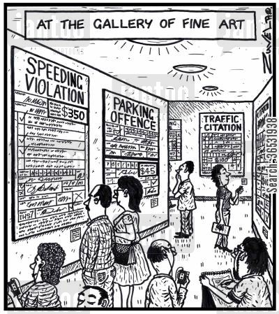 fine art cartoon humor: At the gallery of Fine Art.
