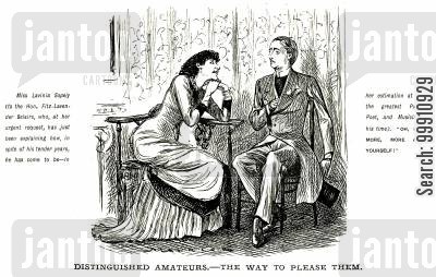 impressing cartoon humor: Lady flattering an amateur man of the arts