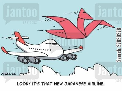paper plane cartoon humor: Look! It's that new Japanese airline.