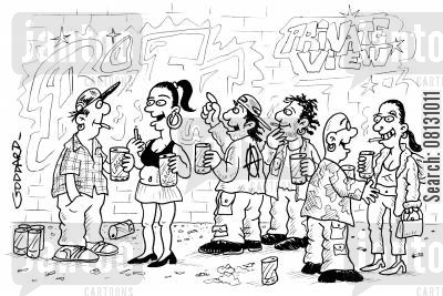 private view cartoon humor: Graffiti art private view.