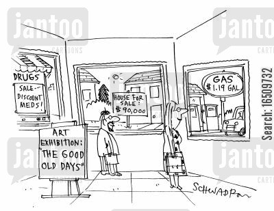 art exhibit cartoon humor: Art Exhibit: The Good Ol' Days.