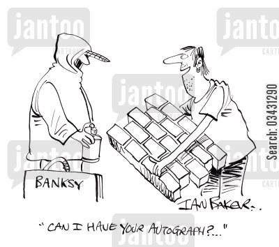 street artist cartoon humor: 'Can I have your autograph?...'