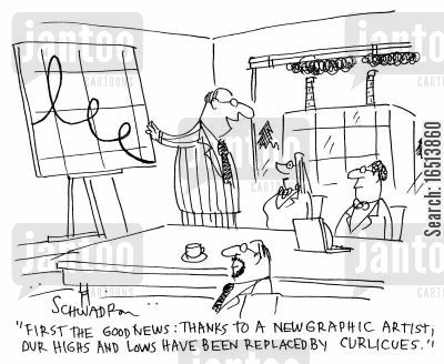graphic art cartoon humor: 'First the food news: thanks to a new graphic artist, our highs and lows have been replaced curlicues.'