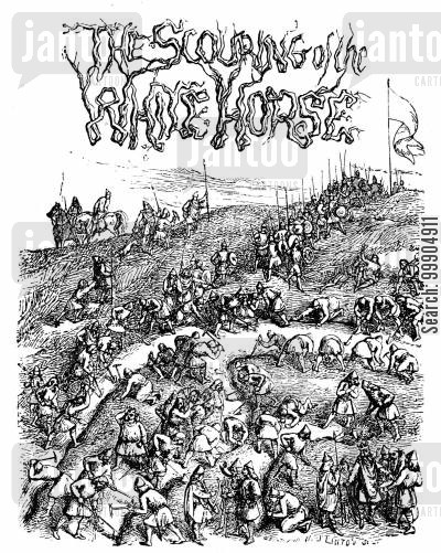 white horse cartoon humor: Title page from 'The Scouring of the White Horse'.