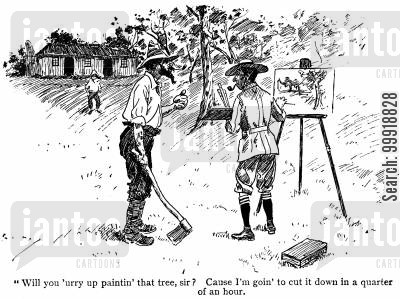 idyllic country cartoon humor: Tree Painting