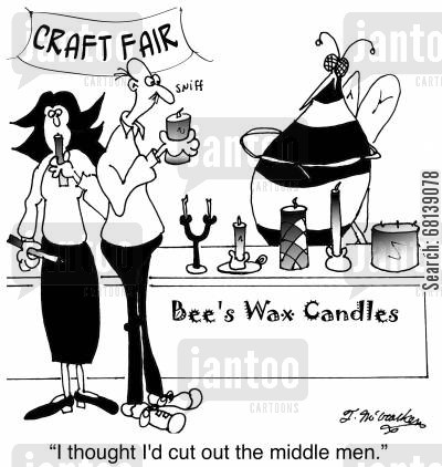apiarist cartoon humor: 'I thought I'd cut out the middle men.'