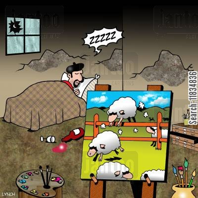 sleeping disorders cartoon humor: Artists paints sheep jumping over a fence to get sleepy.