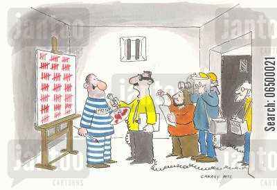 countdown cartoon humor: Inmate selling his calendar as art.