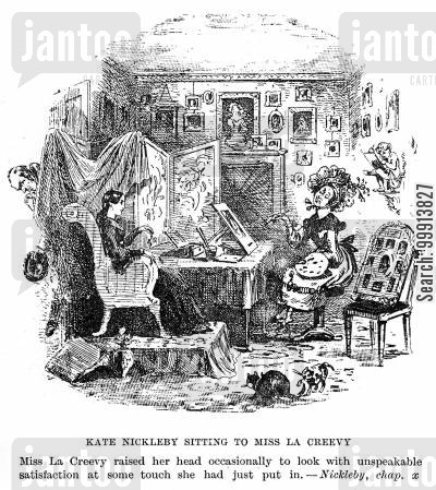 landlady cartoon humor: Kate Nickleby sitting to Miss La Creevy