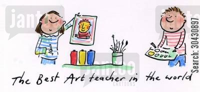 arty cartoon humor: The Best Art Teacher in the World.