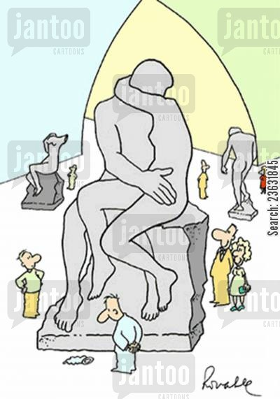 admire cartoon humor: 'Man looking at sculpture of Rodin.'
