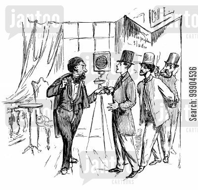 art cartoon humor: Victorian photographer welcomes artists to his studio (du Maurier, Whistler, T.R. Lamont).