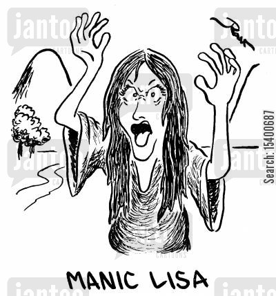 da vinci cartoon humor: Manic Lisa