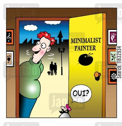 minimalist cartoon humor: Minimalist painter.