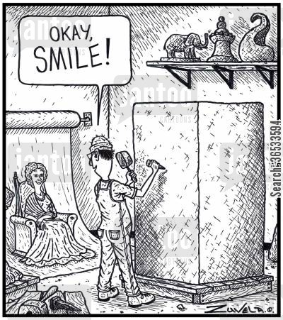 stone cartoon humor: Sculptor: 'Okay, SMILE!'
