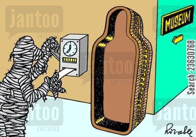 rota cartoon humor: Mummy clocking in at a museum.