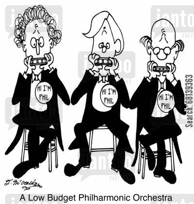 funding cuts cartoon humor: A Low Budget Philharmonic Orchestra