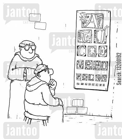 optical cartoon humor: Ecclesiastical Eye Test