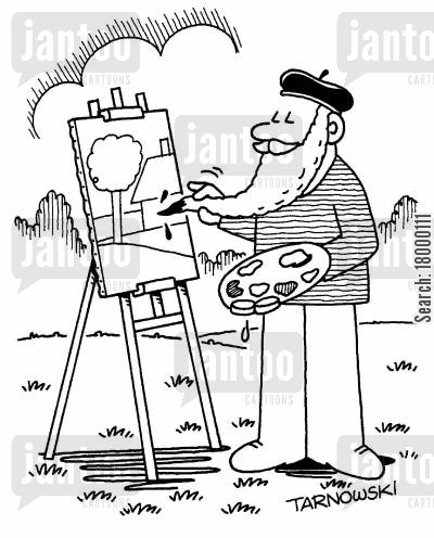 resourcefulness cartoon humor: Artist using his beard as a paintbrush.