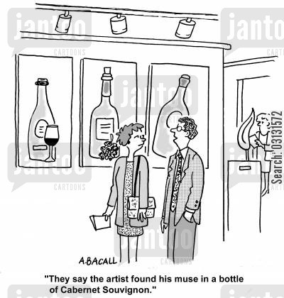 muses cartoon humor: They say the artist found his muse in a bottle of Cabernet Souvingnon.