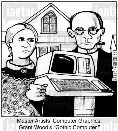 famous painting cartoon humor: Master Artists' Computer Graphics: Grant Wood's 'Gothic Computer.'