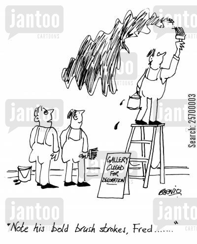 artiste cartoon humor: 'Note his bold brush strokes, Fred...'