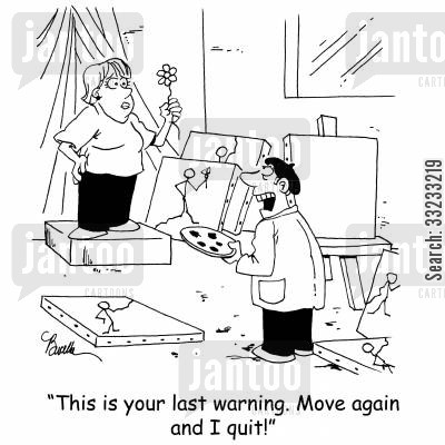 artists models cartoon humor: 'This is your last warning. Move again and I quit!'